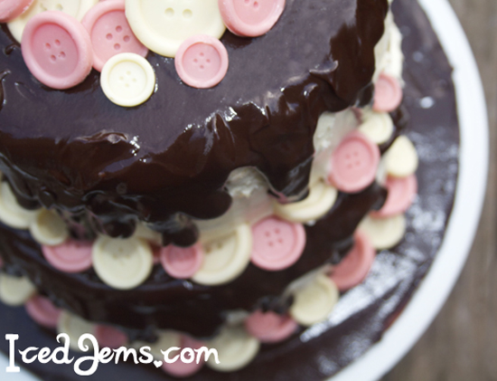 Pink White Button Cake