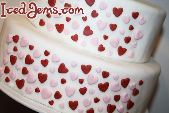 Red and Pink Hearts Cake