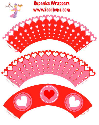 graphic relating to Free Printable Cupcake Wrappers named Even Further Free of charge Valentines Printables Crimson Crimson Hearts