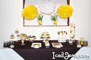 Yellow and Brown Dessert Table