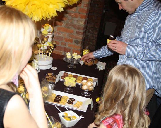 Brown and Yellow Dessert Table