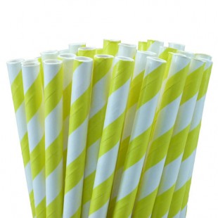 Yellow White Stripe Straws