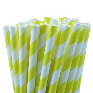 Yellow White Stripe Straws