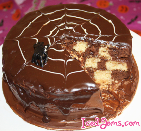 SpiderWeb Checkerboard Cake