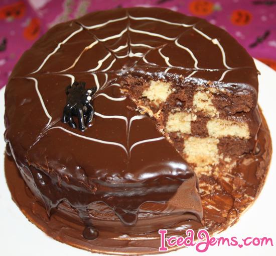 SpiderWeb Checkerboard Cake