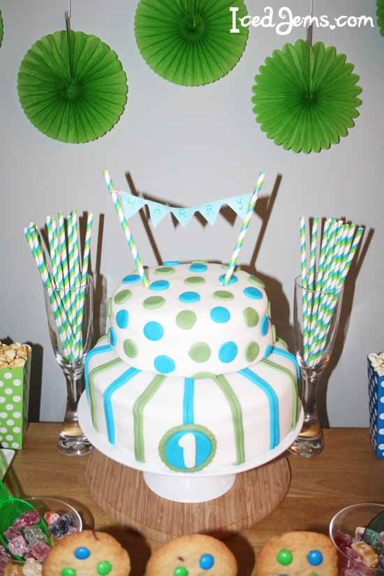 Green And Blue 1st Birthday Cake