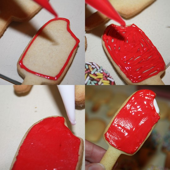 Strawberry Spilt Ice Lolly Cookie